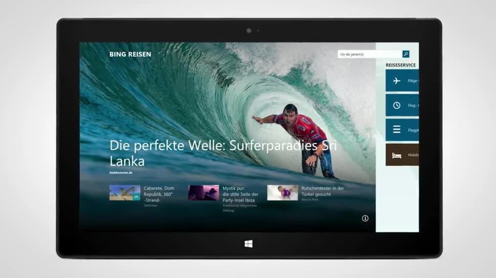 Windows 8, App, Windows Phone, Bing, Reisen, Bing Reise-App