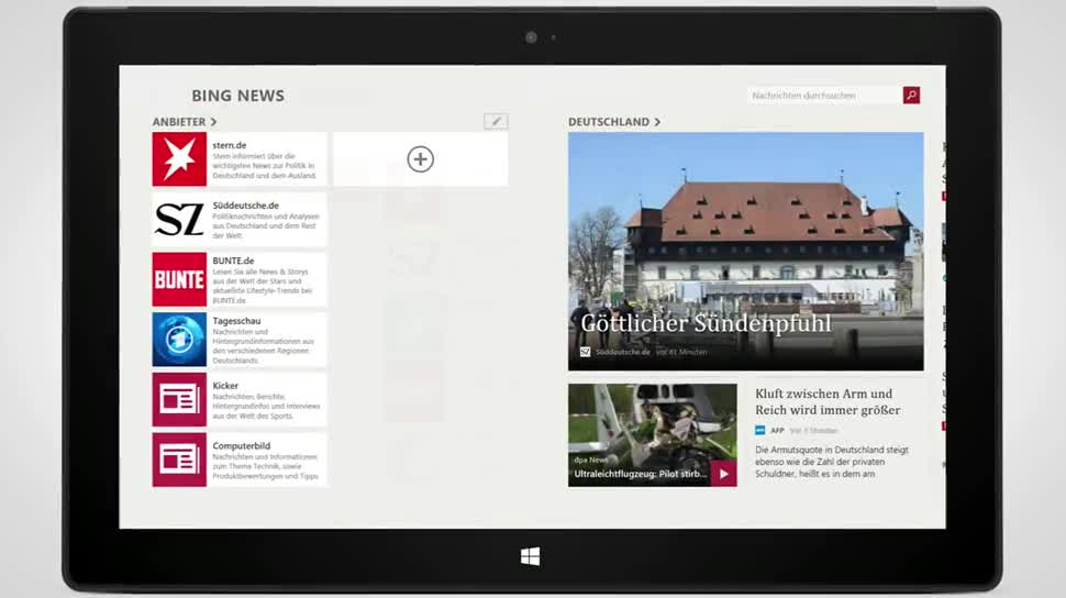 Microsoft, Windows 8, Windows Phone, App, Bing, Nachrichten, Bing News