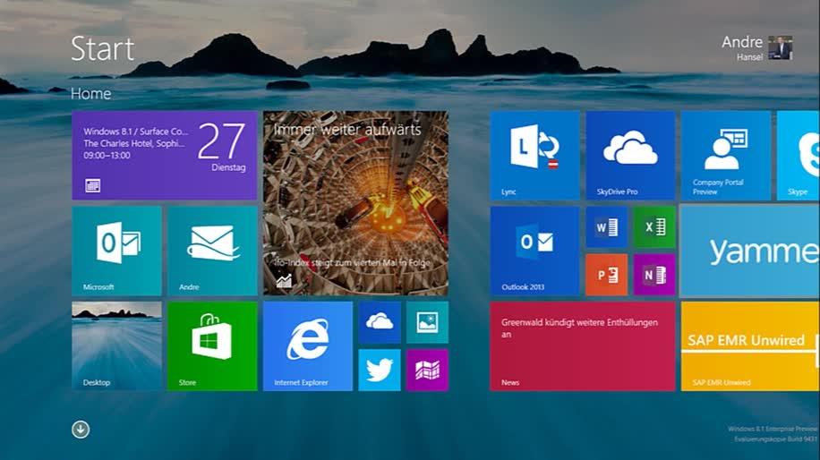 Microsoft, Betriebssystem, Windows, Windows 8, Apps, Windows 8.1, Windows RT, Unternehmen, Skydrive, Kacheln, Windows To Go, Company Portal