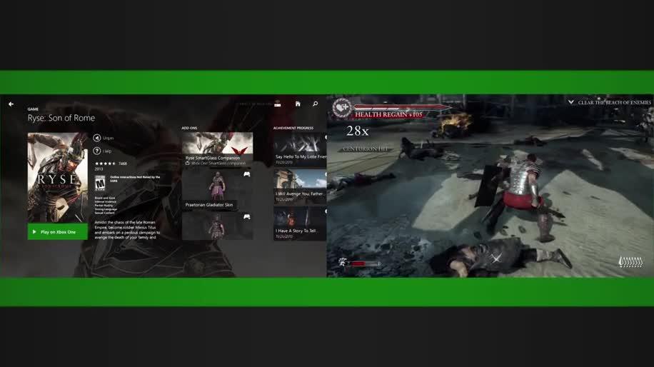 Microsoft, Xbox One, actionspiel, Microsoft Xbox One, Crytek, SmartGlass, Ryse, Xbox SmartGlass, Son of Rome