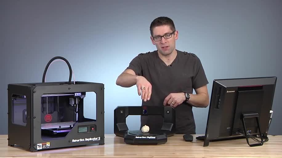 Microsoft, Windows, Windows 8.1, 3D-Drucker, 3D-Druck, 3D-Scanner, Makerbot Digitizer, MakerBot Replicator 2, 3D-Scan