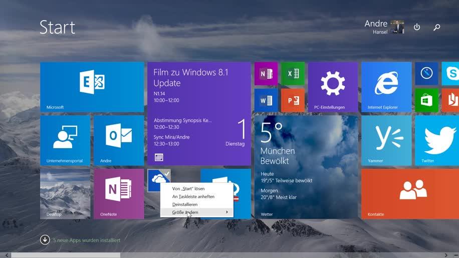 Microsoft, Betriebssystem, Windows, App, Windows 8, Windows 8.1, Build, Windows Store, Windows Update, internet explorer 11, Windows 8.1 Update 1, Taskleiste, Build 2014, Kacheln, Startbildschirm, Hardware-Anforderungen, Andre Hansel