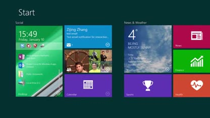 Desktop, Interface, Microsoft Research, Windows 9, Startscreen, Live Tiles, Windows next, Interactive Live Tiles