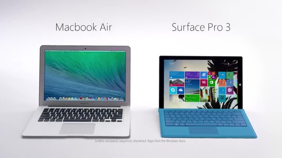 Microsoft, Tablet, Surface, Microsoft Surface, Werbespot, Surface Tablet, Surface Pro 3, Microsoft Surface Pro 3, Macbook Air, Apple MacBook Air