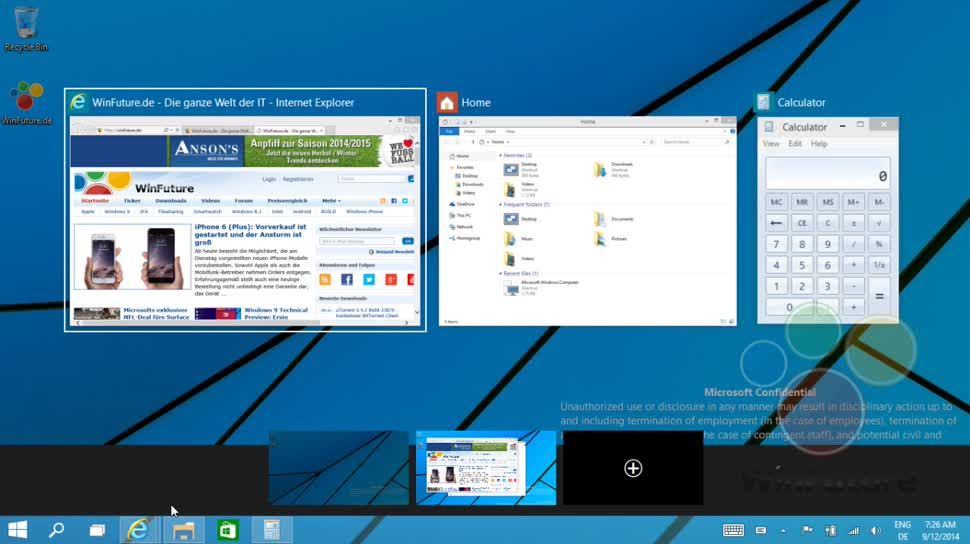 "Microsoft, Betriebssystem, Desktop, Windows Threshold, Windows ""Threshold"", Windows 9, Startmenü, Windows 9 Threshold, Windows 9 ""Threshold"", Multitasking, Multi-Desktop, WIndows 10 Exklusiv, Start Menu, Multitask, Multi Desktop"