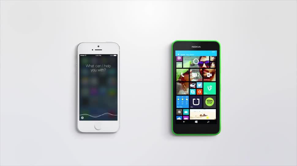 Microsoft, Smartphone, Apple, Iphone, Windows Phone, Nokia, Windows Phone 8, Werbespot, Lumia, Windows Phone 8.1, Apple iPhone, Sprachassistent, Cortana, Nokia Lumia, WP8, Siri, Microsoft Cortana, Nokia Lumia 635, Lumia 635