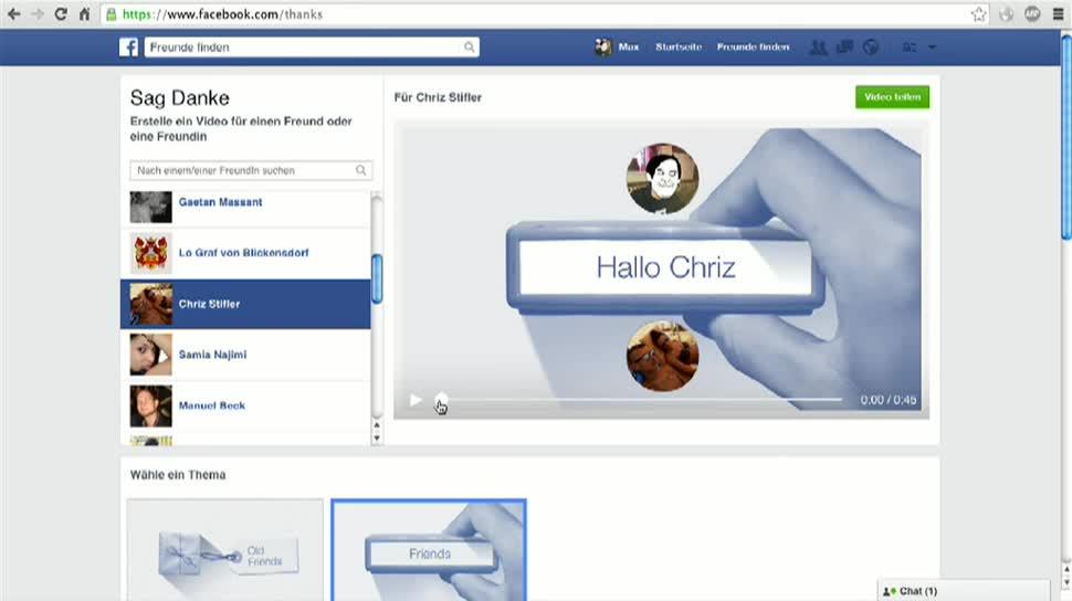 Facebook, Freundschaft, Videogruß, Thanks