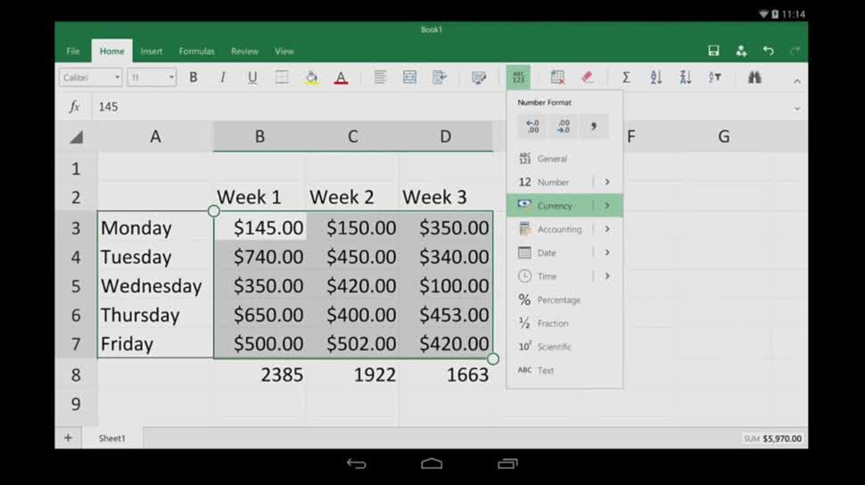 Erste Schritte in Excel für Android-Tablets