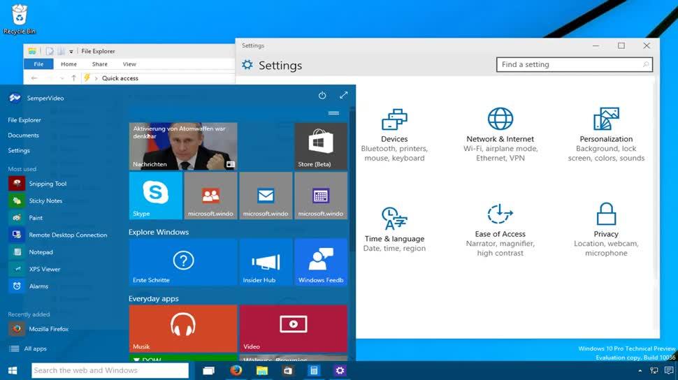 Microsoft, Betriebssystem, Windows, Windows 10, Leak, Windows 10 Technical Preview, Windows Threshold, Threshold, Benutzeroberfläche, SemperVideo, Startmenü, Technical Preview, Build 10036, Windows 10 Build 10036