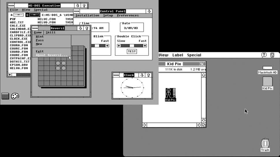 Microsoft, Betriebssystem, Apple, Windows, Microsoft Corporation, Benutzeroberfläche, Bill Gates, Steve Ballmer, Ibm, SemperVideo, Geburtstag, Dos, MS-DOS, Gui, Xerox, 40JahreMicrosoft, Microsoft DOS, Windows 1, Windows 2