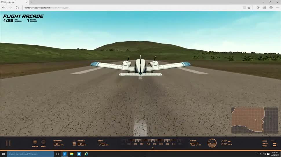Microsoft, Windows 10, Build, Microsoft Edge, Simulation, Build 2015, Webgl, Flight Simulator, Microsoft Flight Simulator, Browserspiel, WebAudio, GamePad API