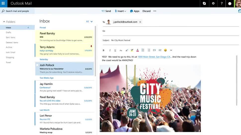 Microsoft, Werbespot, Skype, E-Mail, Mail, Outlook, OneDrive, outlook.com, Webmail