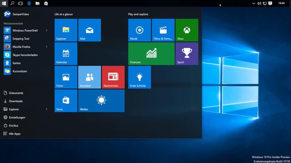Microsoft, Betriebssystem, Windows, Windows 10, SemperVideo, Build 10159