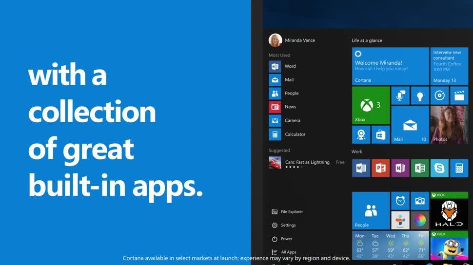 Microsoft, Betriebssystem, Windows, Windows 10, Apps, Videos, Windows Store, Navigation, Fotos, Karten, Groove, 10 Gründe für Windows 10
