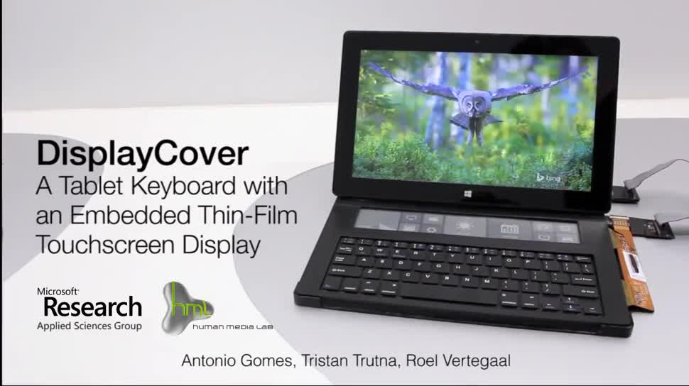 Microsoft, Tablet, Surface, Microsoft Surface, Tastatur, Surface Tablet, E-Ink, DisplayCover, Microsoft Applied Sciences