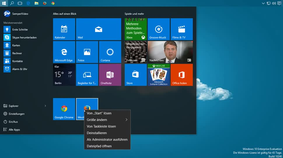 Microsoft, Windows 10, Apps, SemperVideo, Deinstallation