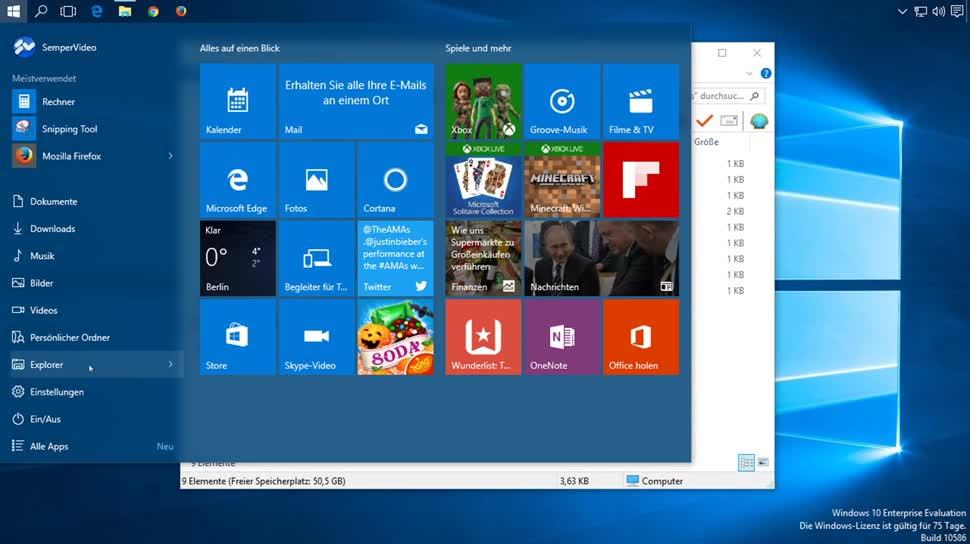 Microsoft, Windows 10, SemperVideo, Startmenü, Shortcuts