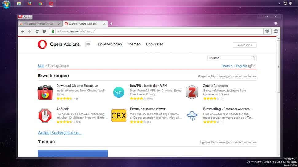 Browser, Chrome, Opera, SemperVideo, Erweiterung, Plugin, Addon