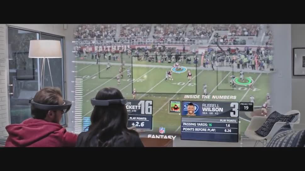 Microsoft, VR, Augmented Reality, Headset, Augmented-Reality, Super Bowl, HoloLens, Datenbrille, VR-Brille, Microsoft HoloLens, Windows Holographic, Windows 10 Holographic, Hologramm, Super Bowl 2016, Football, AR-Brille, AR-Headset, Minecraft for HoloLens