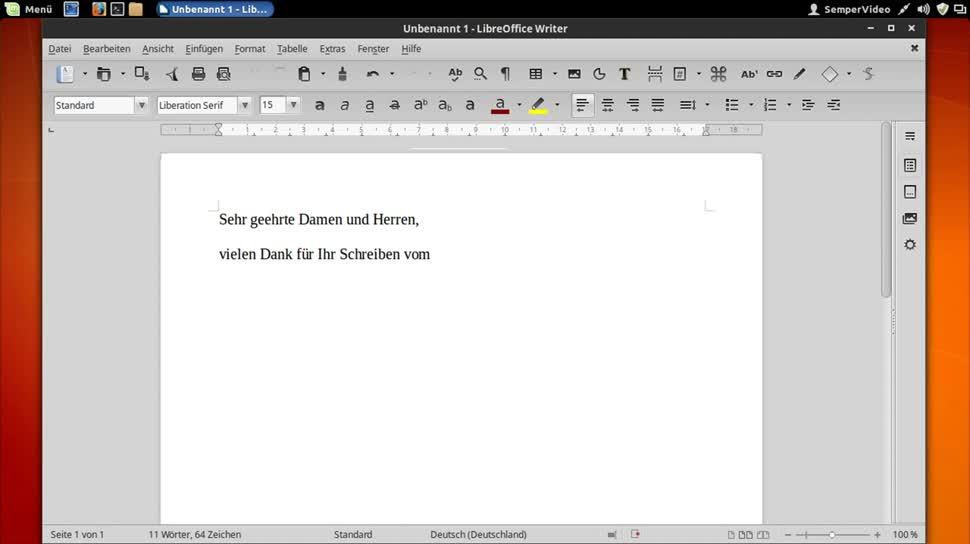 Office, SemperVideo, Textverarbeitung, Libreoffice, Textbausteine