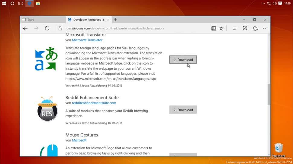 Microsoft, Windows 10, Browser, Edge, Microsoft Edge, SemperVideo, Erweiterungen, Add-Ons
