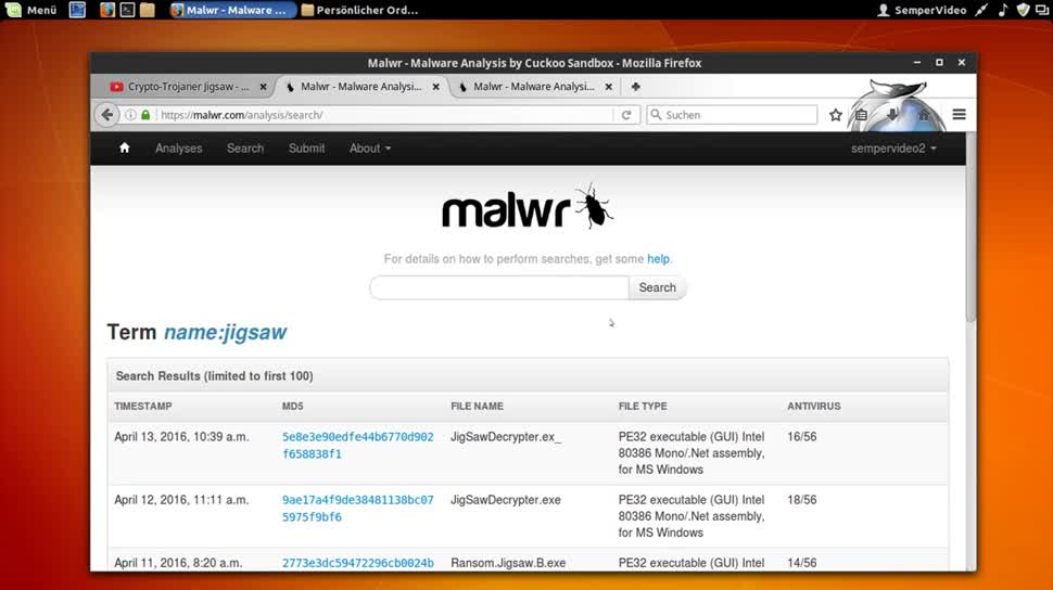 Internet, Malware, Trojaner, Schadsoftware, SemperVideo, Viren, Jigsaw, Schadware, malwr.com