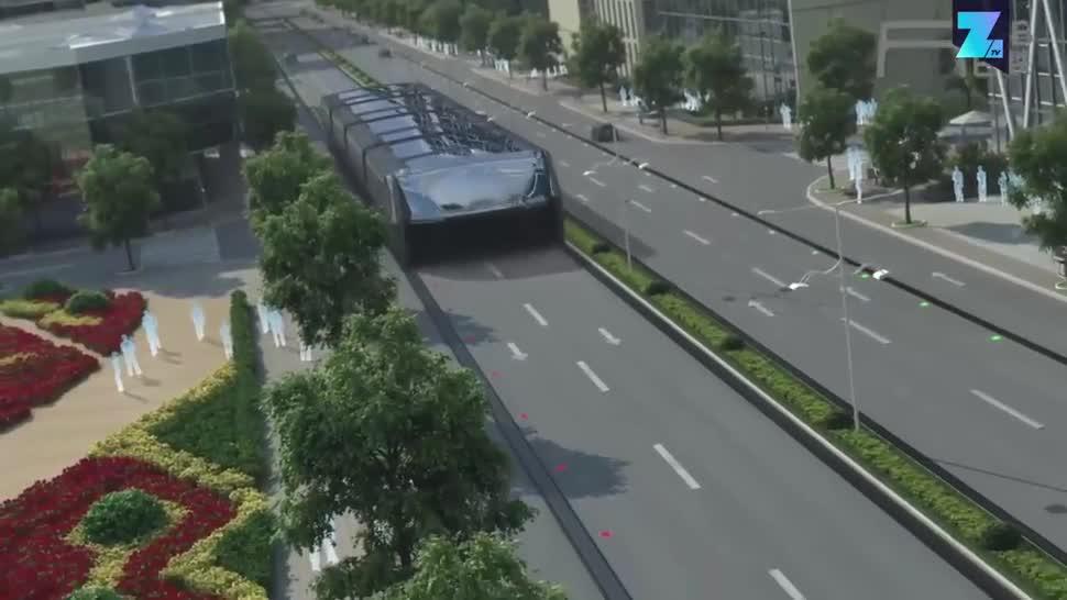 China, Zoomin, Verkehr, Straßenverkehr, Bus, TEB, Transit Elevated Bus