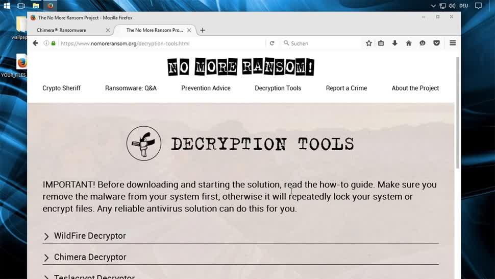 Sicherheit, Malware, Ransomware, SemperVideo, No More Ransom