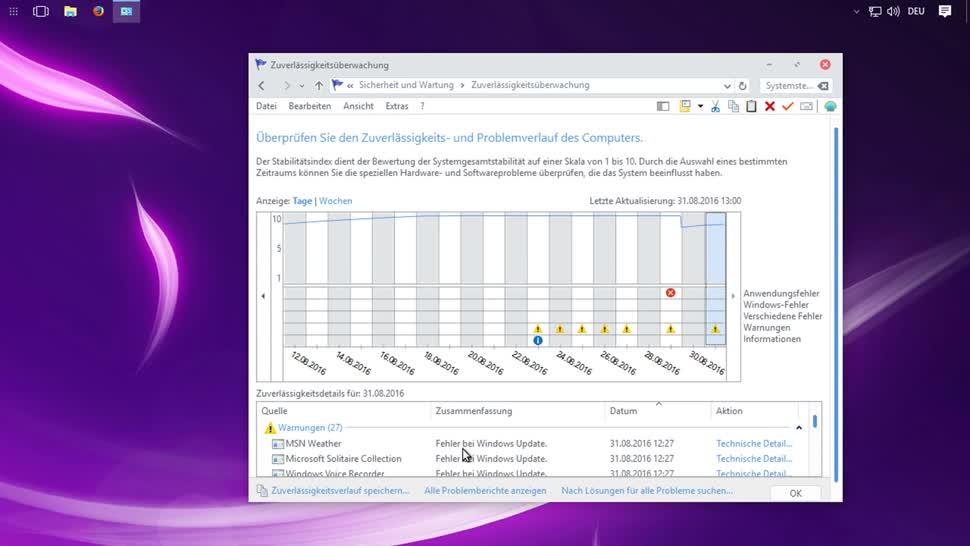 Microsoft, Betriebssystem, Windows, Windows 10, Windows 8, Windows 7, Fehler, SemperVideo, Zuverlässigkeitsverlauf, Zuverlässigkeitsüberwachung