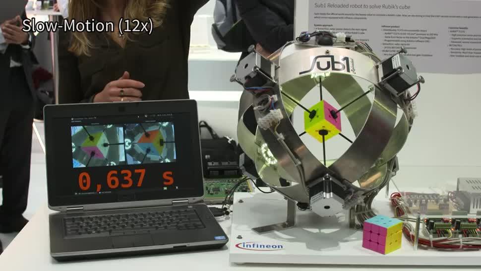 Roboter, Weltrekord, Infineon, Zauberwürfel, Rubik's Cube, Sub1 Reloaded