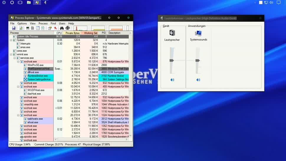 Windows 10, SemperVideo, Process Explorer, Verknüpfung
