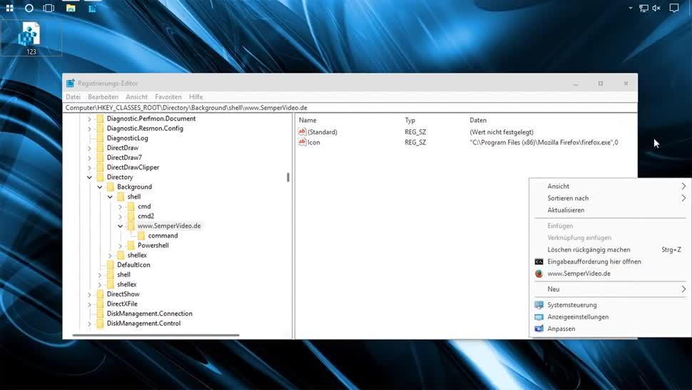 Windows, SemperVideo, Webseite, URL, Kontextmenü