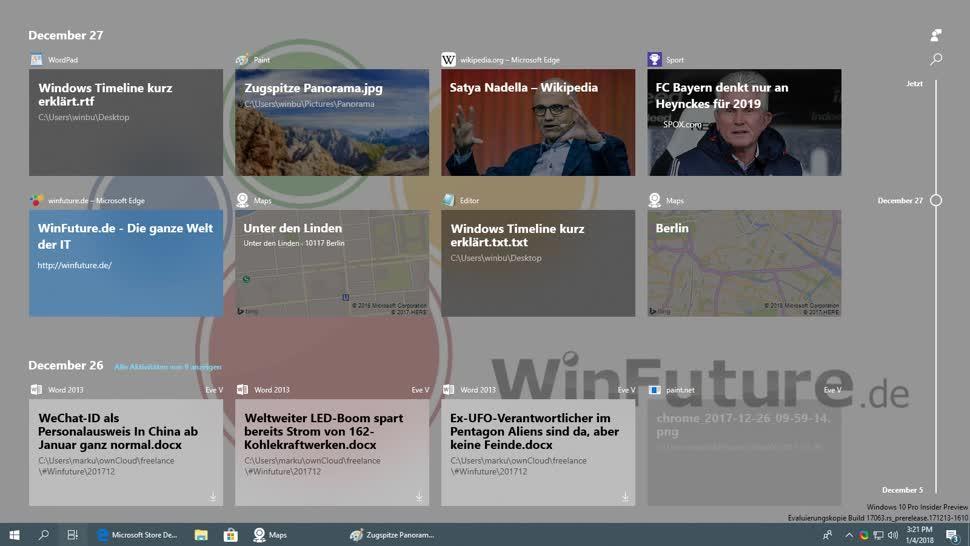Microsoft, Windows 10, Windows Insider, Redstone 4, Timeline, Markus Kasanmascheff, Windows Timeline, Windows 10 Insider Preview Build 17063, Windows Zeitleiste, Zeitleiste