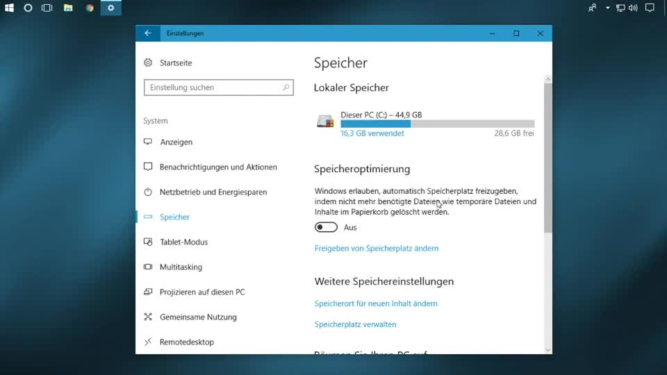 Microsoft, Betriebssystem, Windows 10, SemperVideo, Downloads, Papierkorb, Speicheroptimierung