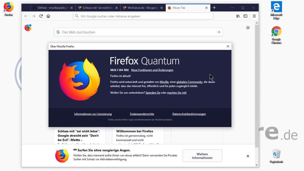 Update, Browser, Firefox, Mozilla, Webbrowser, Markus Kasanmascheff, Firefox 60