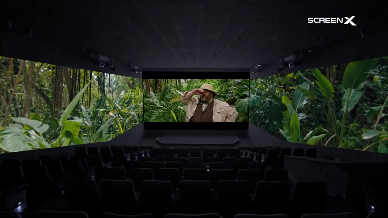 Trailer, Film, Kino, Kinofilm, Berlin, Innovation, Premiere, Projektion, Extras, Kinosaal, ScreenX, 270-Grad-Leinwand, Jumanji: The Next Level, Filmtechnik