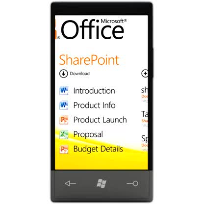 Windows Phone 7, E-Mail, Outlook, Office 2010, OneNote, Kalender, Termine, Office Mobile, Events, Office Hub