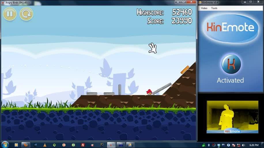 Microsoft, Kinect, Bewegungssteuerung, Angry Birds, Rovio, KinEmote