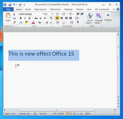 Microsoft, Leak, Office, Office 15, Effekte