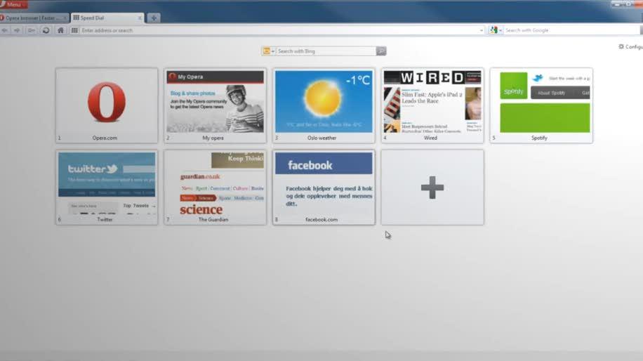 Browser, Opera, Opera 11.10, Schnellwahl, Speed Dial