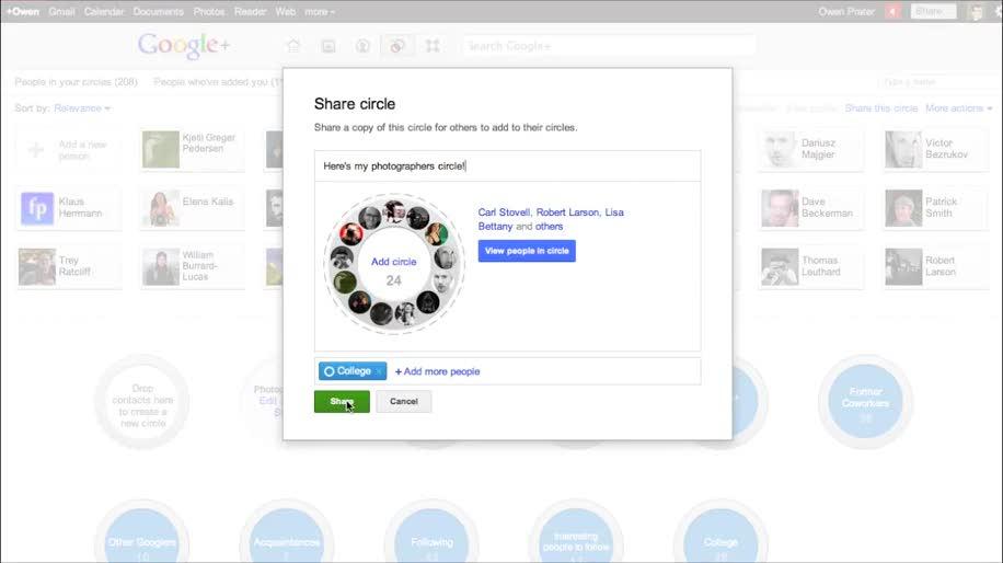 Google+, Circle Sharing