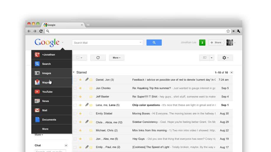 Google, Google Maps, Google+, Google Mail, Google Toolbar