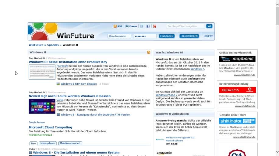 Microsoft, Betriebssystem, Windows 8, Metro, Maus, Wetter, Windows 8 Rundgang, Rechtsklick