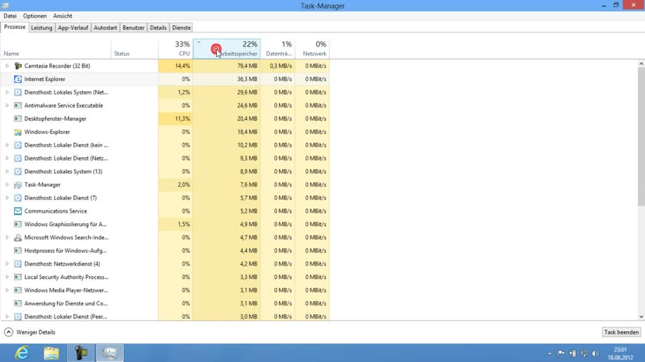 Microsoft, Betriebssystem, Windows 8, Taskmanager, Windows 8 Rundgang, Task Manager