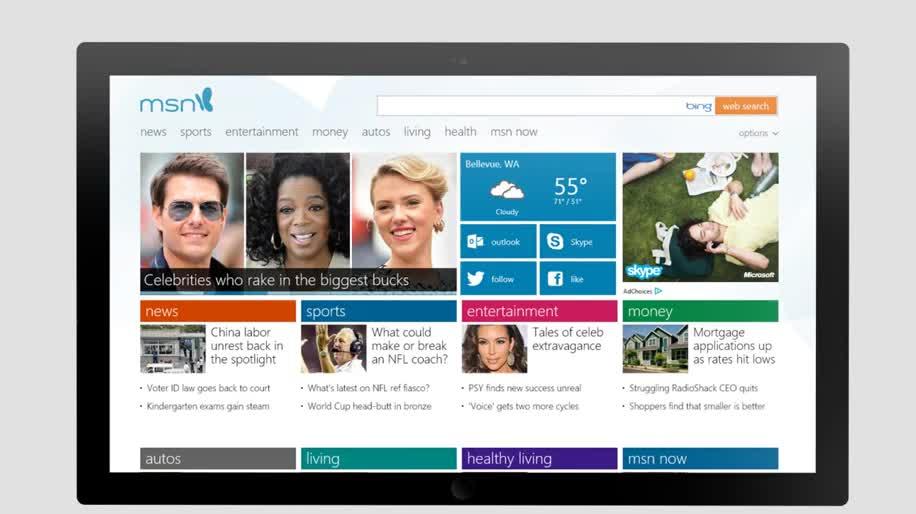 Microsoft, Tablet, Windows 8, Design, Interface, Touchscreen, Metro, Touch, Msn, Portal, modern ui