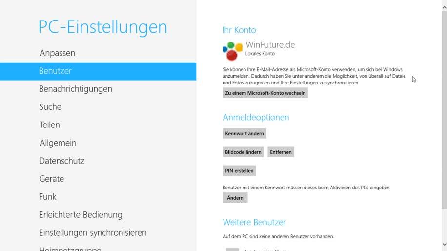 Microsoft, Betriebssystem, Windows 8, Windows 8 Rundgang, Live ID, Microsoft Konto, Lokales Konto, Online Konto