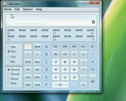 Microsoft, Windows 7, Taschenrechner